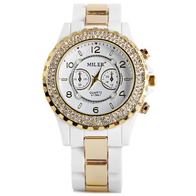 Здесь можно купить   Miler A12841 Luxurious Diamond Ladies Quartz Watch Round Dial Ceramic + Steel Strap