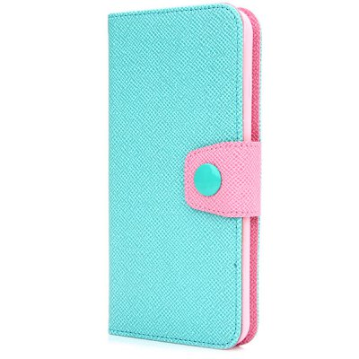 ФОТО Artificial Leather and TPU Material Contrast Color Design Lanyard Cover Case with Card Holder and Stand for iPhone 6 Plus  -  5.5 inches
