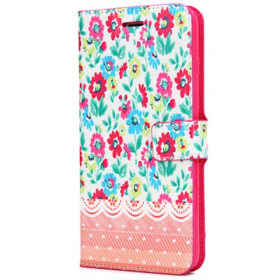 ФОТО Artificial Leather and TPU Material Flower Pattern Design Cover Case with Card Holder and Stand for iPhone 6 Plus  -  5.5 inches