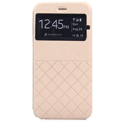 ФОТО Artificial Leather and Plastic Material Grid Design Cover Case with View Window and Stand for iPhone 6 Plus  -  5.5 inches