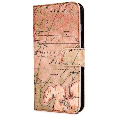 ФОТО Artificial Leather and Plastic Material Map Pattern Design Cover Case with Card Holder and Stand for iPhone 6 Plus  -  5.5 inches