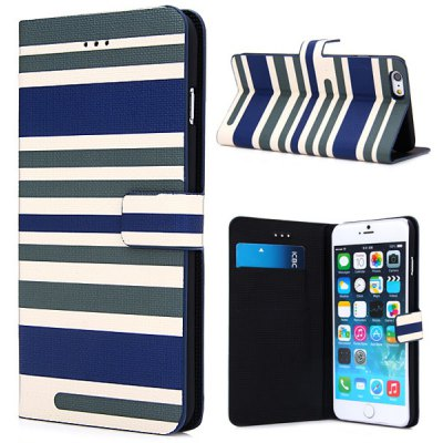 Artificial Leather and Plastic Material Three Colors Stripe Pattern Design Cover Case with Card Holder and Stand for iPhone 6 Plus  -  5.5 inches