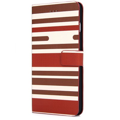 ФОТО Artificial Leather and Plastic Material Three Colors Stripe Pattern Design Cover Case with Card Holder and Stand for iPhone 6 Plus  -  5.5 inches