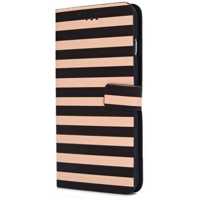 ФОТО Artificial Leather and Plastic Material Dual Colors Stripe Pattern Design Cover Case with Card Holder and Stand for iPhone 6 Plus  -  5.5 inches