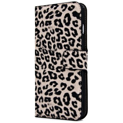 ФОТО Artificial Leather and Plastic Material Leopard Print Design Cover Case with Card Holder and Stand for iPhone 6 Plus  -  5.5 inches