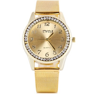 TNDA Women Quartz Watch Diamond Round Dial Steel Net BandWomens Watches<br>TNDA Women Quartz Watch Diamond Round Dial Steel Net Band<br><br>Watches categories: Female table<br>Available color: White, Gold<br>Style : Fashion&amp;Casual<br>Movement type: Quartz watch<br>Shape of the dial: Round<br>Display type: Analog<br>Case material: Stainless steel<br>Case color: Gold<br>Band material: Stainless steel<br>Clasp type: Pin buckle<br>Band color: Gold<br>The dial thickness: 0.7 cm / 0.3 inches<br>The dial diameter: 3.7 cm / 1.5 inches<br>The band width: 1.6 cm / 0.6 inches<br>Product weight: 45 g<br>Product size (L x W x H) : 23.2 x 3.7 x 0.7 cm / 9.1 x 1.5 x 0.3 inches<br>Package contents: 1 x Watch