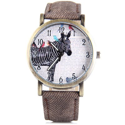 Гаджет   Horse Quartz Watch Round Dial Leather Band for Women Women