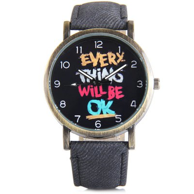 Women Quartz Watch Round Dial Words Leather BandWomens Watches<br>Women Quartz Watch Round Dial Words Leather Band<br><br>Watches categories: Female table<br>Available color: Brown, Gray, Black, Blue<br>Style : Fashion&amp;Casual<br>Movement type: Quartz watch<br>Shape of the dial: Round<br>Display type: Analog<br>Case material: Steel<br>Case color: Coppery<br>Band material: Leather<br>Clasp type: Pin buckle<br>The dial thickness: 0.9 cm / 0.4 inches<br>The dial diameter: 3.8 cm / 1.4 inches<br>The band width: 1.9 cm / 0.7 inches<br>Product weight: 35 g<br>Product size (L x W x H) : 24 x 3.8 x 0.9 cm / 9.4 x 1.4 x 0.4 inches<br>Package contents: 1 x Watch