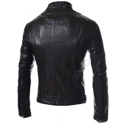 Laconic Stand Collar Solid Color Slimming Zipper Embellished Long Sleeves Mens PU Leather CoatMens Jakets &amp; Coats<br>Laconic Stand Collar Solid Color Slimming Zipper Embellished Long Sleeves Mens PU Leather Coat<br><br>Clothes Type: Fur &amp; Faux Fur<br>Material: Faux Leather<br>Collar: Mandarin Collar<br>Clothing Length: Regular<br>Style: Fashion<br>Weight: 1.441KG<br>Sleeve Length: Long Sleeves<br>Season: Winter, Fall<br>Package Contents: 1 x Coat