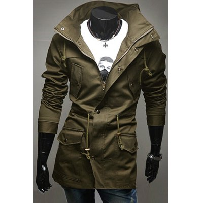 Personality Turn-down Collar Multi-Pocket Slimming Belt Design Long Sleeves Mens CoatMens Jakets &amp; Coats<br>Personality Turn-down Collar Multi-Pocket Slimming Belt Design Long Sleeves Mens Coat<br><br>Clothes Type: Jackets<br>Material: Cotton, Polyester<br>Collar: Turn-down Collar<br>Clothing Length: Regular<br>Style: Fashion<br>Weight: 0.830KG<br>Sleeve Length: Long Sleeves<br>Season: Fall, Winter<br>Package Contents: 1 x Coat