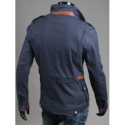 Гаджет   Retro Style Slimming Stand Collar PU Leather and Pocket Embellished Long Sleeves Men