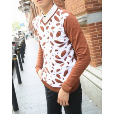 Гаджет   Stylish V-Neck Slimming Color Block Print Splicing Long Sleeve Polyester Sweater For Men Sweaters & Cardigans