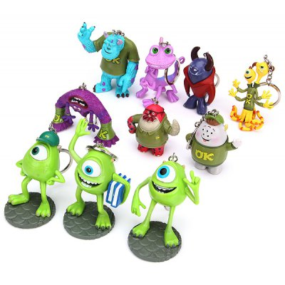 10Pcs Monster Inc Figure Miniatures Keychain
