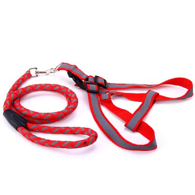 Practical 2m Dog Cats Traction Leash Harness Set Pets Lead Reflective Rope