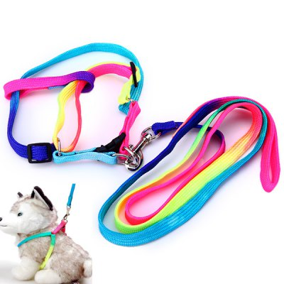 113cm Dogs Cats Leash Set Colorful Pet Traction Rope with Adjustable Harness