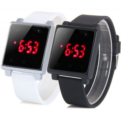 LED Touch Screen Watch Date Red Subtitles Rectangle Dial Rubber Band