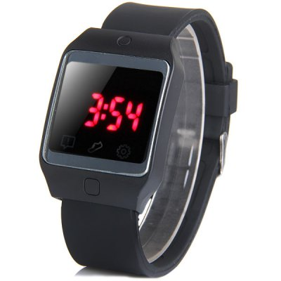 LED Watch Red Subtitles Touch Screen Date Rubber Strap Rectangle Dial