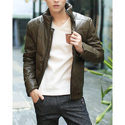 Гаджет   Laconic Slimming Fashion Stand Collar Solid Color Long Sleeves Men