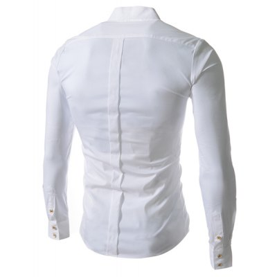 Гаджет   Stylish Stand Collar Slimming Solid Color Buttons Design Long Sleeve Cotton Blend Shirt For Men Shirts