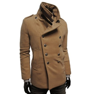 ФОТО Stylish Turndown Collar Slimming Double Breasted Long Sleeve Woolen Blend Trench Coat For Men