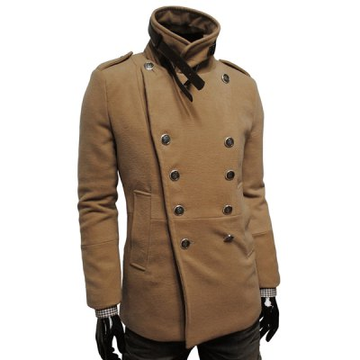 Фотография Stylish Turndown Collar Slimming Double Breasted Long Sleeve Woolen Blend Trench Coat For Men