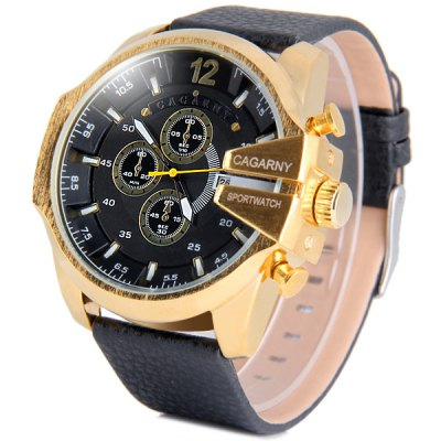 Cagarny 6839 Male Quartz Watch with Date Big Round Dial Leather Wristband