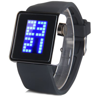Гаджет   TVG 4G08 LED Digital Watch Week Date Year Rectangle Dial Rubber Watchband Sports Watches