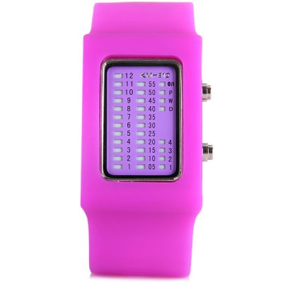 TVG KM - 812 LED Watch Week Date Rectangle Dial Rubber WatchbandSports Watches<br>TVG KM - 812 LED Watch Week Date Rectangle Dial Rubber Watchband<br><br>People: Unisex table<br>Watch style: LED, Fashion&amp;Casual<br>Available color: Red, White, Black, Purple, Blue<br>Shape of the dial: Rectangle<br>Movement type: Light table<br>Display type: LED lamp<br>Case material: Rubber/Silicone<br>Band material: Rubber<br>Clasp type: Pin buckle<br>Special features: Light, Week, Date<br>The dial thickness: 1.4 cm / 0.6 inches<br>The dial diameter: 3.2 cm  / 1.3 inches<br>The band width: 3.2 cm / 1.3 inches<br>Product weight: 0.069 kg<br>Product size (L x W x H) : 24.8 x 3.2 x 3.2 cm / 9.8 x 1.3 x 1.3 inches<br>Package contents: 1 x Watch
