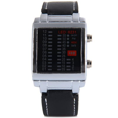 Гаджет   TVG 8231 LED Watch Week Date Rectangle Dial Leather Watchband Sports Watches