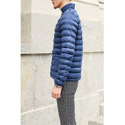 Гаджет   Laconic Stand Collar Solid Color Slimming Double Pocket Embellished Long Sleeves Men