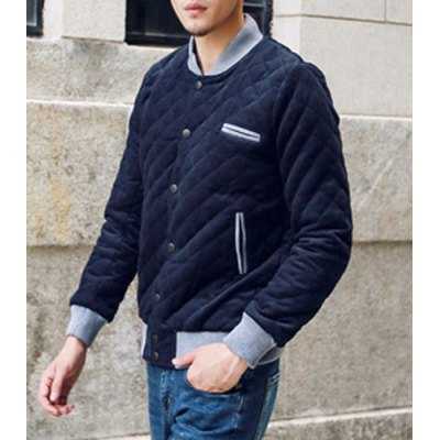 Гаджет   Casual Style Stand Collar Color Block Rib Splicing Slimming Long Sleeves Men