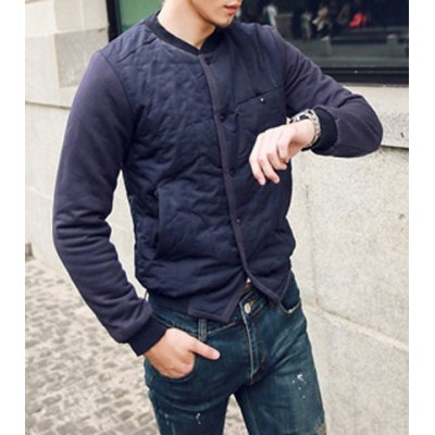Гаджет   Slimming Stand Collar Personality Pocket Embellished Knitted Long Sleeves Splicing Men