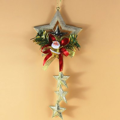 Exquisite Santa Claus and Bells with Stars Decorative Christmas Tree Topper