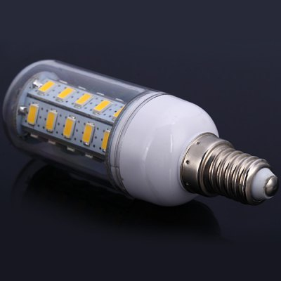 E14 12W 36 SMD - 5630 1100Lm LED Bulb Warm White 110V Corn Lamp (3000 - 3200K)LED Light Bulbs<br>E14 12W 36 SMD - 5630 1100Lm LED Bulb Warm White 110V Corn Lamp (3000 - 3200K)<br><br>Base Type: E14<br>Type: Corn Bulbs<br>Output Power: 12W<br>Emitter Type: SMD-5630 LED<br>Total Emitters: 36 LEDs<br>Actual Lumen(s): 1100Lm<br>Voltage (V): AC 110<br>Appearance: Transparent Cover<br>Features: Energy Saving, Low Power Consumption, Long Life Expectancy<br>Function: Home Lighting, Commercial Lighting, Studio and Exhibition Lighting<br>Available Light Color: Warm White, Cold White<br>Sheathing Material: Plastic<br>Product Weight: 0.026 kg<br>Package Weight: 0.05 kg<br>Product Size (L x W x H): 9.8 x 2.9 x 2.9 cm / 3.86 x 1.14 x 1.14 inches<br>Package Size (L x W x H): 11 x 4 x 4 cm<br>Package Contents: 1 x E14 12W 110V SMD-5630 Corn Light