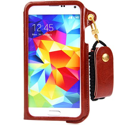 Гаджет   PU Leather Material Lanyard Back Cover Case with Card Holder and Stand for Samsung Galaxy S5 i9600 SM - G900 Samsung Cases/Covers