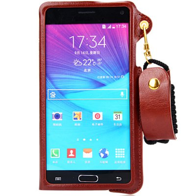 Гаджет   PU Leather Material Lanyard Back Cover Case with Card Holder and Stand for Samsung Galaxy Note4 N9100 Samsung Cases/Covers