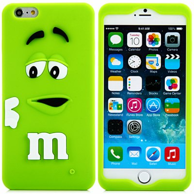 Fashionable 3D Cartoon M Chocolate Bean Silicone Back Cover Case for iPhone 6  -  4.7 inches