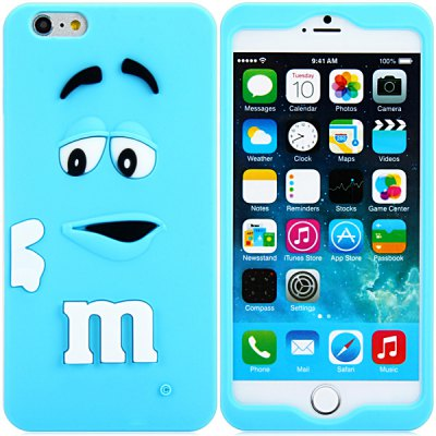 3D Cartoon M Chocolate Bean Pattern Silicone Case Cover for iPhone 6 - 4.7 inches