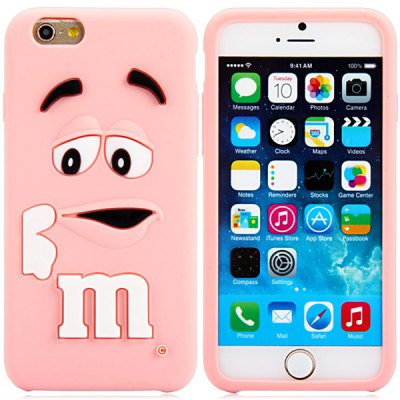 3D Cartoon M Chocolate Bean Pattern Silicone Case Cover for iPhone 6 Plus - 5.5 inches