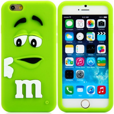 Гаджет   Fashionable 3D Cartoon M Chocolate Bean Silicone Back Cover Case for iPhone 6 Plus  -  5.5 inches iPhone Cases/Covers