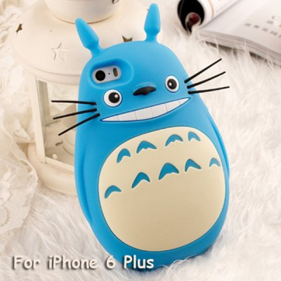 Rubber Mobile Phone Cover Case for iPhone 6 Plus Cute Fat Totoro Japanese Anime