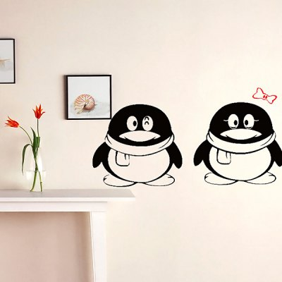 Lovely Penguins with Bow Sticker QQ Wall Wallpaper Art Decals Mural Room Decor
