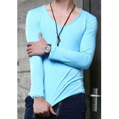 Гаджет   Casual Style V-Neck Slimming Solid Color Simple Design Long Sleeves Men