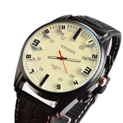 Weijieer 5805 Male Quartz Watch Round Dial Rubber Strap Stereo Scale