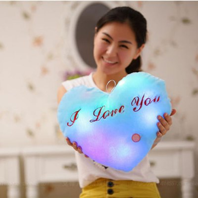 New RGB Colorful Heart Shaped Pillow Plush Toy for Christmas Gift