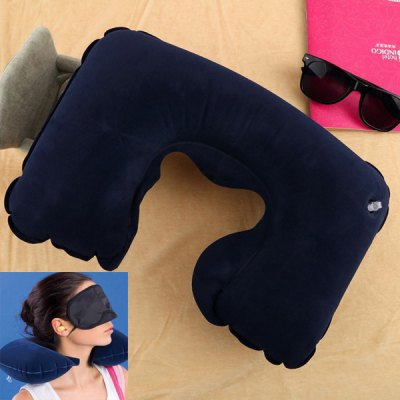 Inflatable Neck Pillow Eye Mask Ear Plug 3 in 1 Travel Set Business Trip Office Lunch Break Necessaries