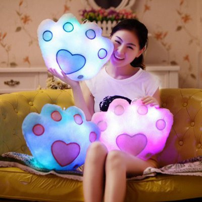 RGB Colorful Bear's Paw Shaped Pillow