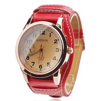 Weijieer 5029 Men Quartz Watch Leather Band Round Dial Non - functioning Sub - dials