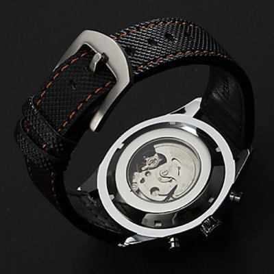 ФОТО Jaragar Hollow - out Automatic Mechanical Watch Day Leather Band for Men