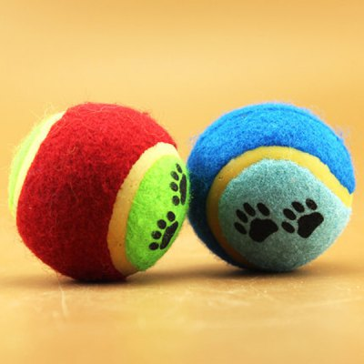ФОТО Colorful Non - toxic Pet Training Ball Bite - resistant Molar Education Tennis Ball with Paw Pattern Design